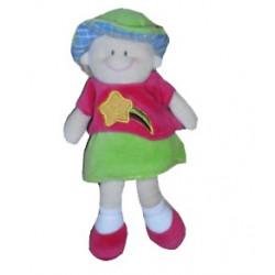 Doudou poupée fillette pull rose jupe verte étoile Filante