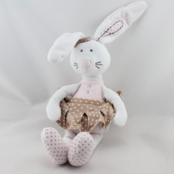 Doudou lapin blanc rose beige pois Little Princess TAPE A L'OEIL