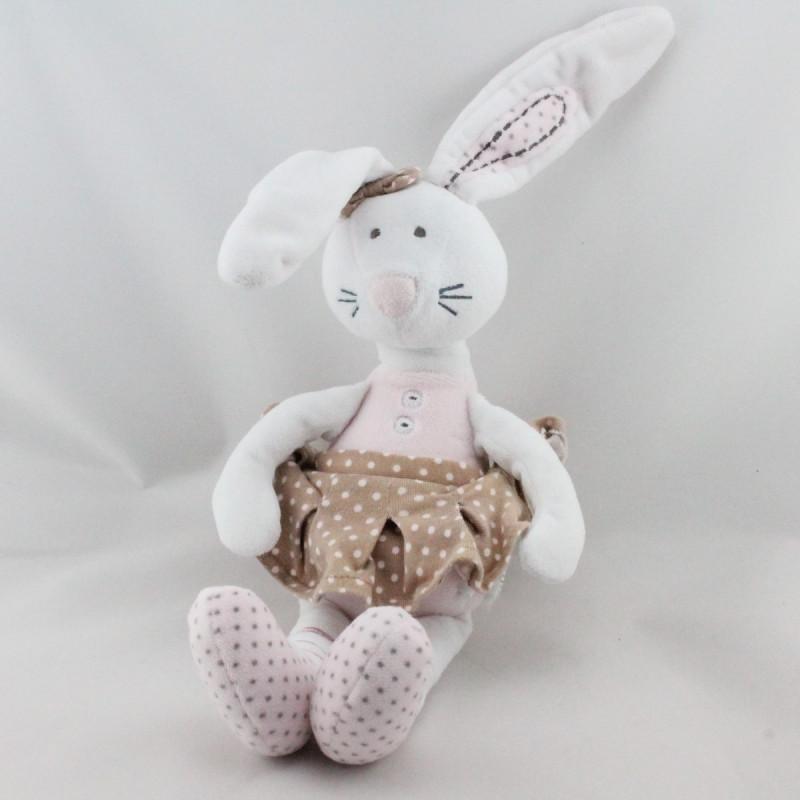 Doudou lapin blanc rose beige pois Little Princess TAPE A L'OEIL