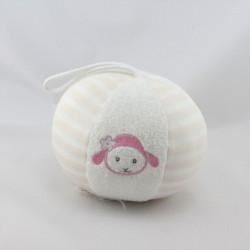 Doudou balle luminou mouton blanc rose JEMINI