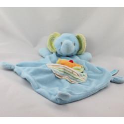 Doudou plat éléphant bleu oiseau orange BEBEREVE