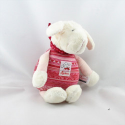Doudou musical mouton blanc rose rouge SIGIKID