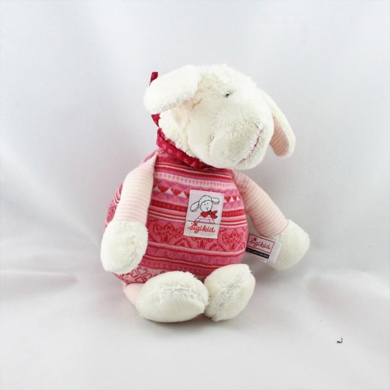 Doudou musical mouton blanc rose rouge SIGIKID