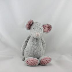 Doudou souris grise rose fleurs JELLYCAT