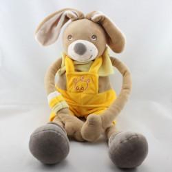 Doudou lapin beige jaune gris salopette NOUNOURS