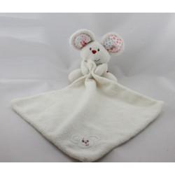 Doudou souris blanche rose fleurs mouchoir ELC