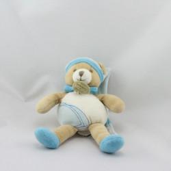 Doudou et compagnie ours rayé bleu mouchoir avion jaune