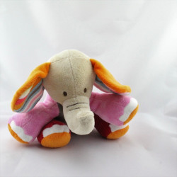 Doudou éléphant beige rose rouge orange gris HAPPY HORSE