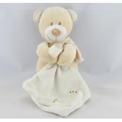 Doudou ours beige avec mouchoir empreintes POMMETTE