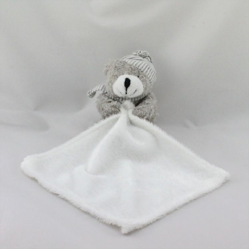 Doudou ours gris avec mouchoir CASINO