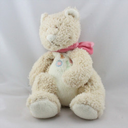 Doudou chat ours beige blanc rose fleur BENGY