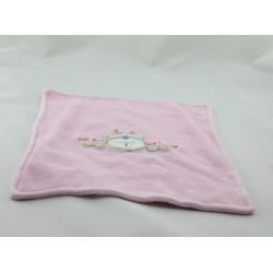 Doudou plat petit élan sous la neige rose
