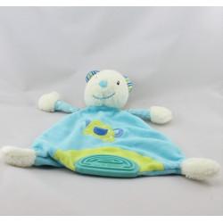 Doudou plat ours blanc bleu vert arrosoir BABYSUN