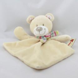 Doudou plat ours écru beige écharpe rayé NICOTOY