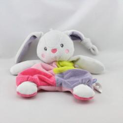 Doudou plat lapin gris rose vert violet SUCRE D'ORGE