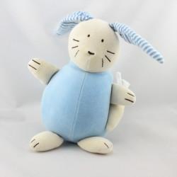 Doudou musical lapin bleu rayé JACADI