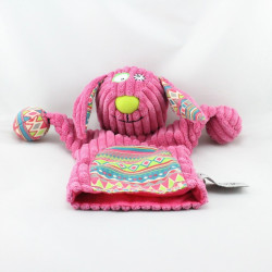Doudou marionnette chien lapin rose motifs GLOBE TROTOYS CORA