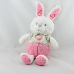 Doudou lapin blanc rose beige pois oiseau MOTS D'ENFANTS