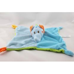 Doudou plat éléphant bleu vert orange BAMBIA