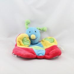 Doudou plat marionnette papillon rouge bleu jaune vert coeurs UN REVE DE BEBE