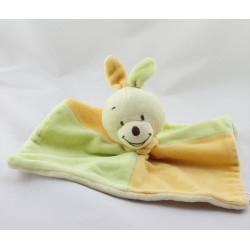 Doudou plat lapin vert jaune orange JJA