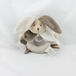 Doudou hochet lapin blanc gris marron LA GRANDE RECRE