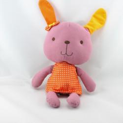 Doudou musical lapin rose orange pois ZEEMAN BABBIE & FRIENDS