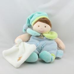 Doudou poupée fille bleu vert mouchoir BABY NAT