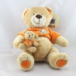 Doudou ours beige orange avec petit ourson NICOTOY