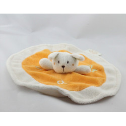 Doudou plat rond lapin blanc orange KING BEAR