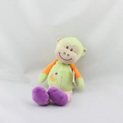 Doudou singe vert orange violet lune DOUKIDOU