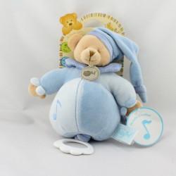 Doudou musical ours bleu noeuds BABY NAT