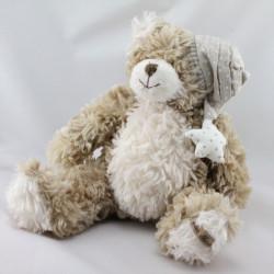 Doudou peluche ours beige blanc bonnet à pois étoile LOUISE MANSEN