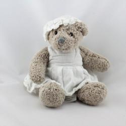Doudou peluche ours gris robe bonnet blanc J-LINE