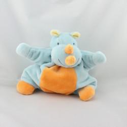 Doudou semi plat rhinocéros bleu orange NATTOU