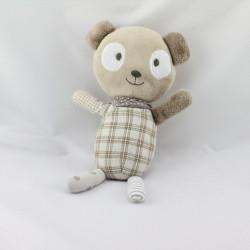Doudou ours beige carreaux pois SIA KIDS