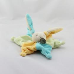 Doudou plat étoile lapin bleu jaune vert BABY NAT