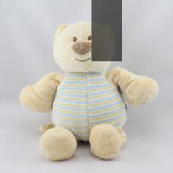 Doudou chat ours beige bleu rayé AMTOYS BENGY
