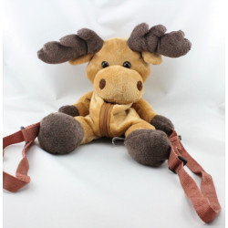 Doudou sac à dos renne elan cert marron SANDY