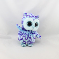 Peluche Hibou chouette bleu violet brillant TY OSCAR