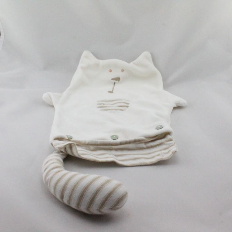 Doudou plat range pyjama blanc rayé beige SERGENT MAJOR