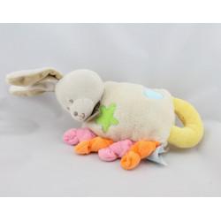 Doudou hochet lapin blanc jaune rose orange étoile coeur BABY NAT