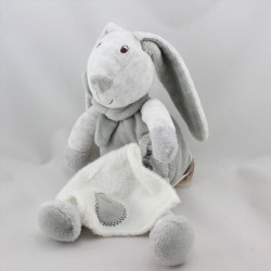 Doudou lapin gris mouchoir Baby nat