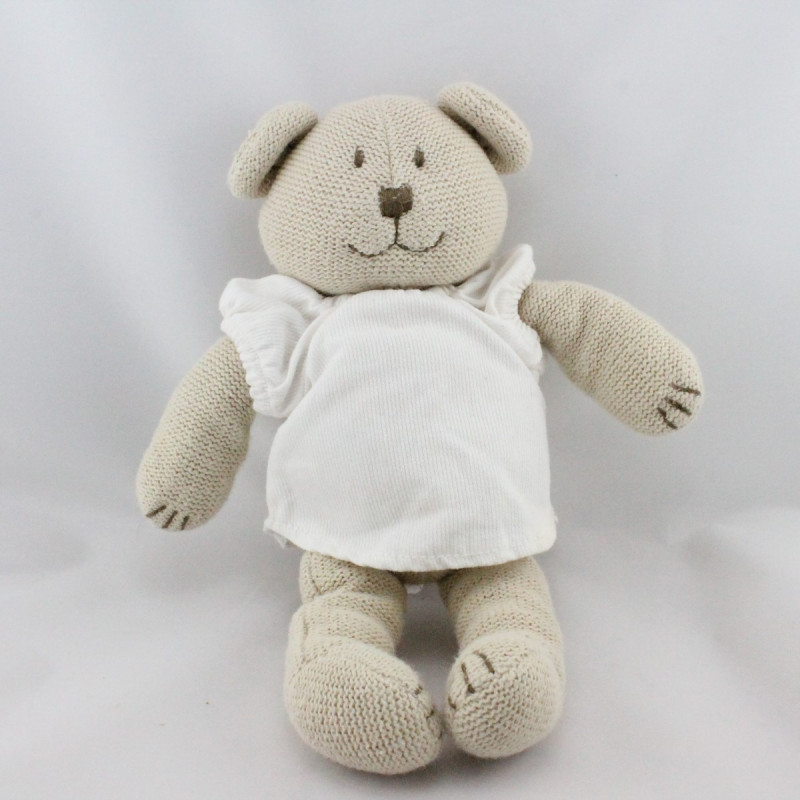 Doudou ours beige pull blanc tricot JACADI