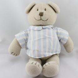 Doudou ours beige chemise bleu blanc rayé tricot JACADI
