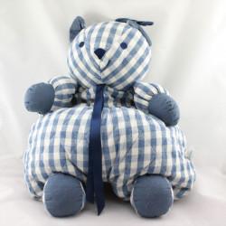 Doudou range pyjama ours bleu blanc carreaux SUCRE D'ORGE