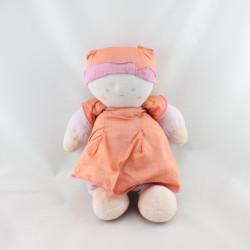Doudou poupée poupon rose orange TARTINE ET CHOCOLAT