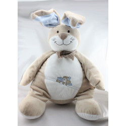 Grand Doudou lapin beige bleu foulard train Oscar et Léon NOUKIE'S 55 cm