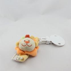 Doudou attache tétine lion beige orange rouge DOUKIDOU