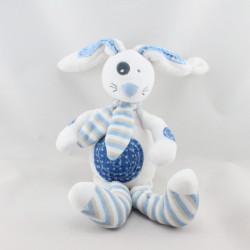 Doudou lapin blanc bleu rayé TAPE A L'OEIL